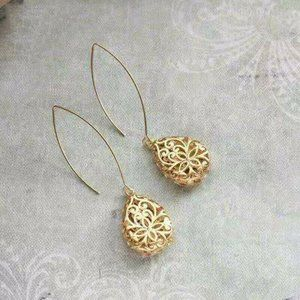 Gold Plated Filligree Drop Earrings
